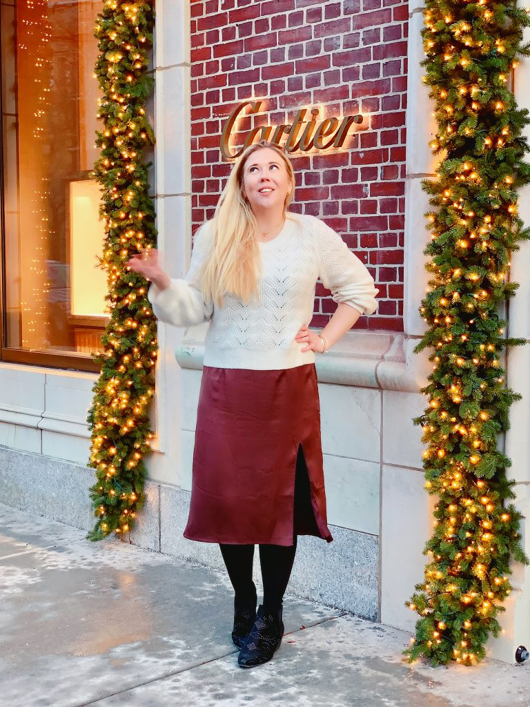 my holiday style is chunky sweaters, silky midi skirts, and classic gold jewelry